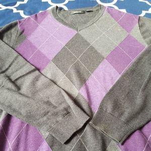 Claiborne Argyle V Neck Sweater Medium